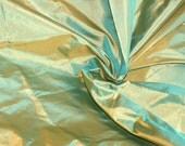 Silk Taffeta in Gold  with Cyan color- Fat quarter -TF 70