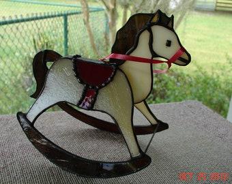 Red Saddled  on Cream & Caramel Stained Glass Rocking Horse