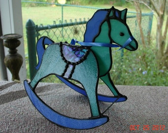 Funky Green & Purple Stained Glass Rocking Horse