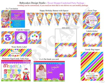 Sweet Shoppe Birthday Party Invitation Printable Party Package - DIY Print Your Own