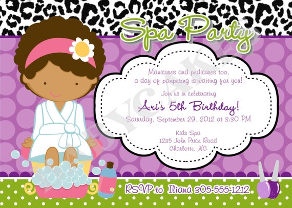 Spa Party birthday invitation - DIY Print YOur Own - Choose your girl, - Matching Party Printables Available