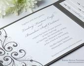 Shimmer Metallic Charcoal slate french grey gray Crystal Pocket Folders Folder Wedding Invitations Invitation Invites Invite Sample