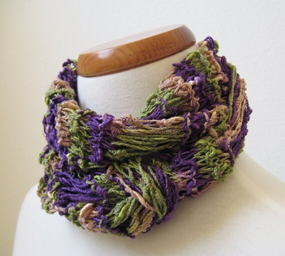 Purple, Green & Beige Mixed Color Scarf