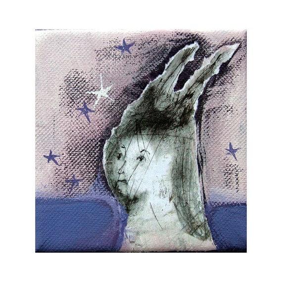 "SALE Winter Night original mixed media canvas small woman portrait painting  square 4""x 4"""