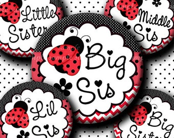 INSTANT DOWNLOAD Red Big Sis Lil Sis Middle Sis Ladybug (608) 4x6 Bottle Cap Images Digital Collage bottlecaps hair bows bottlecap images