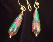 Cleopatra Mosaic Earrings - 24k Gold Vermeil, Lapis, Ruby, Emerald and Pyrite
