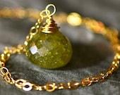 30 carat Green Garnet & Gold Long Necklace