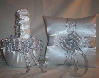 White Satin With Silver Metallic Ribbon Trim Flower Girl Basket And Ring Bearer Pillow Set 1