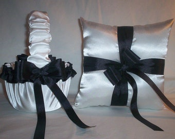 White Satin With Black Ribbon Trim Flower Girl Basket And Ring Bearer Pillow Set 1