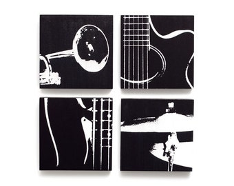 Music Wall Art Set of 4 (6 x 6 inches each) Guitar, Trumpet, Bass, Cymbal on Wood (Black & White) Musical Instrument Home Decor