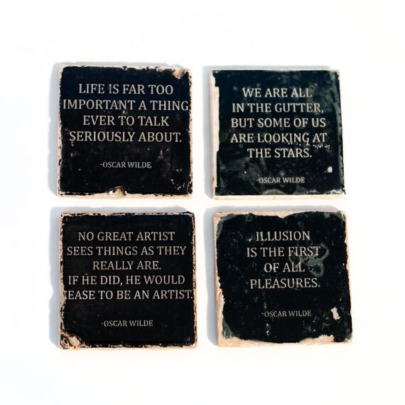 Oscar wilde quotes stone coaster set of 4 black and by for Art and decoration oscar wilde