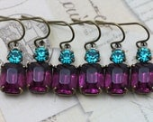 Peacock Wedding Earrings Bridal Party Gift Purple Wedding Jewelry Teal Turquoise Bridesmaids 8 Pairs Vintage Earrings - Clip ons available