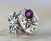 Steampunk Mothers Ring Statement Ring Custom Made Jewelry Personalized Purple Ring Pearl Ring Birthstone Ring Unique Ring Unique Gift Mom