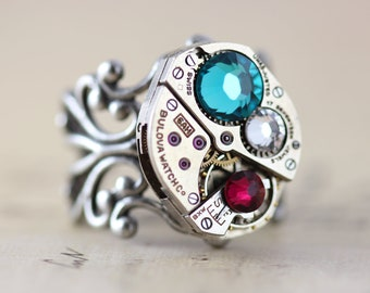 Custom Made Jewelry Steampunk Mothers Ring Watch Ring Personalized Mothers Ring Birthstone Ring Unique Grandmothers Ring