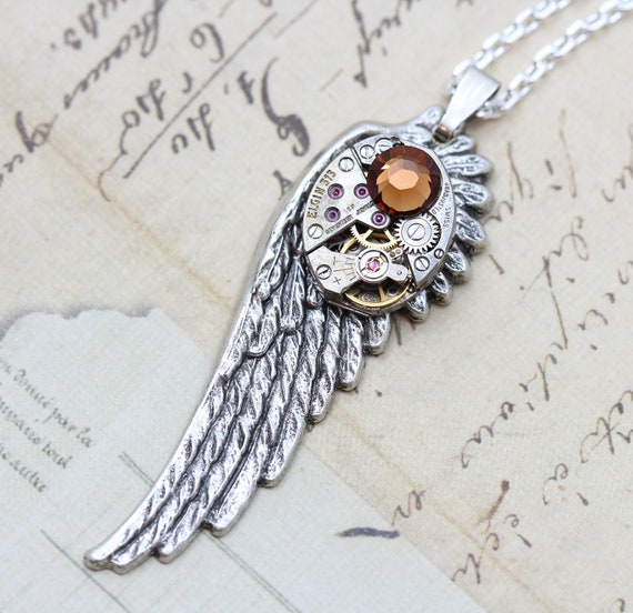 "Wing Necklace Steampunk Necklace Angel Steam Punk Jewelry - Silver Wing Smoked Topaz - Vintage Watch Movement- 24"" Black Chain Gunmetal"