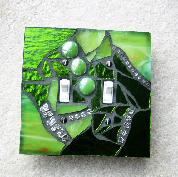 Citrus Green - Double OVERSIZED Mosaic Light Switch Cover Wall Plate