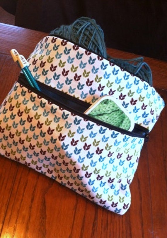 Knit Stitches Turquoise/Green/Brown Knitting Project Bag