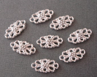 10pcs-Pendant, Charm Connector Flower   Silver 8x16mm.