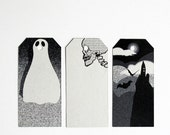 Halloween gift tags - ghost - skull - castle - set of 6