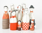 Family , ooak , art doll -  grandparents, parents ,uncle  and and children dressed in Orange and beige  , stripes   and polka dots -handmad