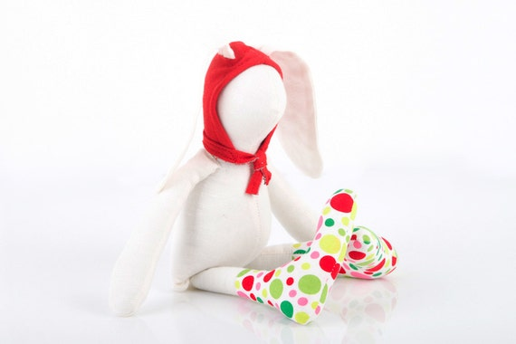 Stuffed bunny doll Urban White Small rabbit  Wearing  red Hood hat  and  a colorful  neon polka dots socks - handmade fabric doll