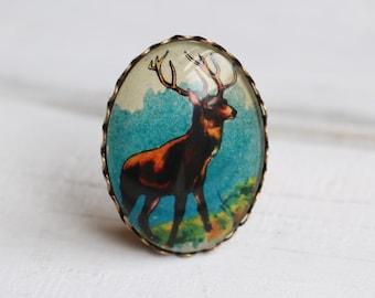 Stag Brooch ... Vintage Stag Miniature Illustration Antlers Deer Brooch
