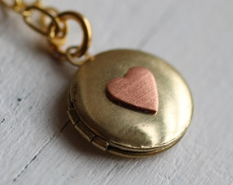 Tiny Personalized Locket ... Love Heart Childrens Pink Initial Vintage Brass