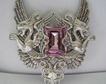 Lt Amethyst Swarovski Crystal with Wings and Chimaeras Victorian Silver Necklace