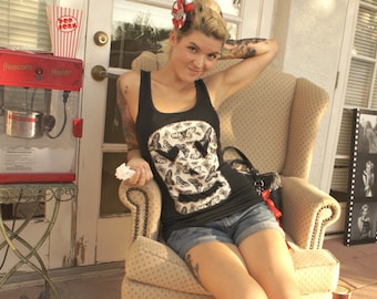 Olivia Paige -Punk rockabilly skull  racerback  tank top with bow