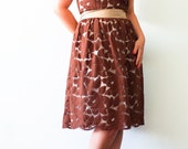Brown Lace dress, Bridesmaid dress. Vintage inspired dress, 50's dress, Mad Men dress