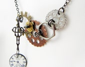 clock face mixed metal and resin necklace, steampunk lite, asymetrical necklace