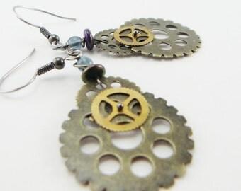 gear heads mixed metal earrings , industrial , steampunk lite earrings