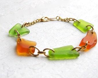 Sea Glass Link Bracelet - Honey Amber & Lime Green Seaglass - Chesapeake Bay Beach Glass Jewelry