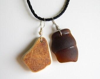 Sea Glass Necklace, Brown Pendants, Black Silk Cord Chain, Chesapeake Beach Glass Jewelry