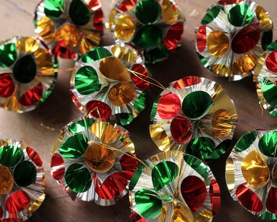 Vintage Modern Mylar Pom Ornaments - Set of 11