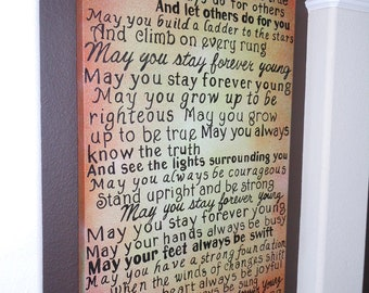FOREVER YOUNG lyrics on Canvas 2 feet X 4 feet this one Send me your favorite lyrics and colors