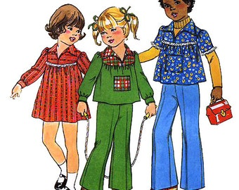 Simplicity 7689 Vintage 70s Child's Dress or Top and Pants Sewing Pattern - Uncut - Size 6