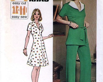 Simplicity 6326 Vintage 70s Misses' Knit Short Dress or Top and Pants Sewing Pattern - Uncut - Size 12 - Bust 34