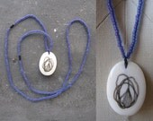 Hand drawn vintage ivory pendant necklace / purple glass beads / FREE SHIPPING
