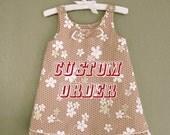 CUSTOM ORDER for Ikena -- Red Floral Jumper Dress Size 1T