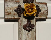 PC034-Y  Rustic White Crackled Cross with Yellow Rose