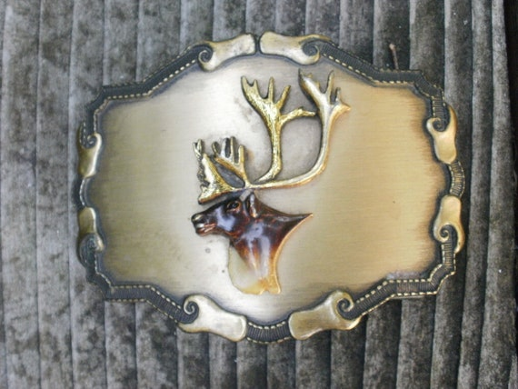 Vintage Belt Buckle with Elk Design
