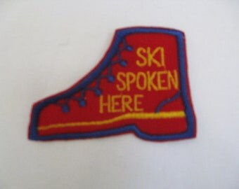 Patch Ski Spoken Here  70s vintage   patch  sew-on and never used free shipping