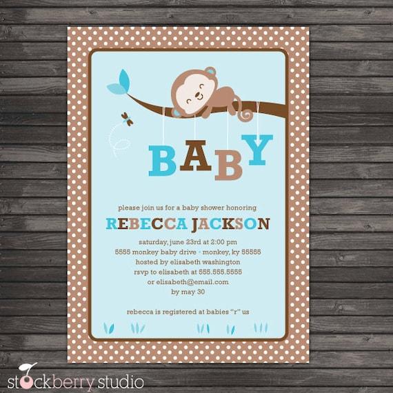 Boy Monkey Baby Shower Invitation Printable - Blue Baby Shower Invites - Boy Baby Shower Invites - Monkey Invitation - Blue and Brown