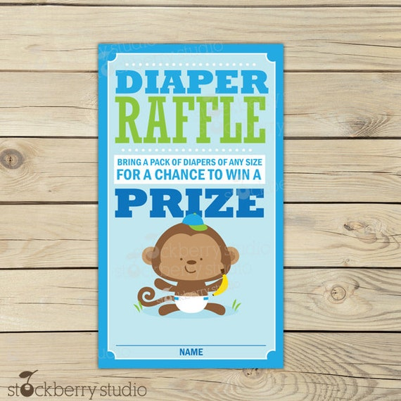 monkey light blue baby shower diaper raffle tickets instant download
