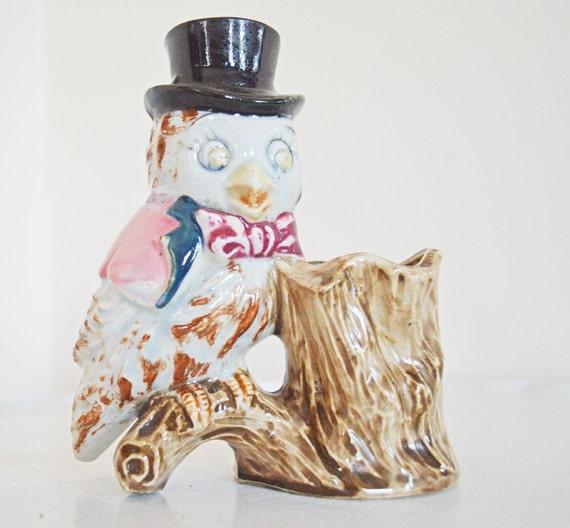 Dapper Vintage Mini Ceramic Owl Planter Top Hat Bow Tie Cape Brown Black Pink Tree Stump Woodland Autumn Fall Owl Decor Planter Pot