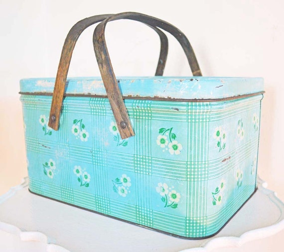 Vintage Metal Picnic Basket Box Wood Handles Hinged Lid Flowers Blue Green White Rusty Chippy Country Farm Rustic