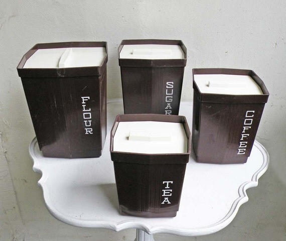 Vintage Kitchen Canister Set Four Brown White Lettering Plastic Nesting Sugar Coffee Tea Max Klein Cannister
