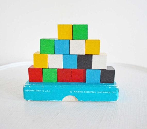 Colored Wood Blocks ~ Summer sale vintage wood building blocks multi colored wooden