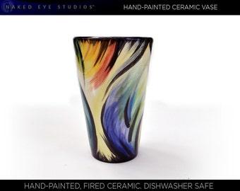 Hand-Painted Ceramic Vase or Tumbler